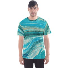 Mint,gold,marble,nature,stone,pattern,modern,chic,elegant,beautiful,trendy Men s Sports Mesh Tee