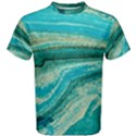 Mint,gold,marble,nature,stone,pattern,modern,chic,elegant,beautiful,trendy Men s Cotton Tee View1