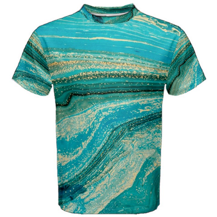 Mint,gold,marble,nature,stone,pattern,modern,chic,elegant,beautiful,trendy Men s Cotton Tee