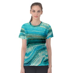 Mint,gold,marble,nature,stone,pattern,modern,chic,elegant,beautiful,trendy Women s Sport Mesh Tee