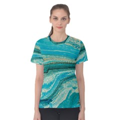 Mint,gold,marble,nature,stone,pattern,modern,chic,elegant,beautiful,trendy Women s Cotton Tee