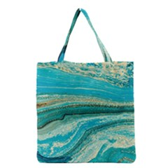 Mint,gold,marble,nature,stone,pattern,modern,chic,elegant,beautiful,trendy Grocery Tote Bag