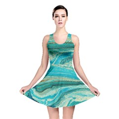 Mint,gold,marble,nature,stone,pattern,modern,chic,elegant,beautiful,trendy Reversible Skater Dress