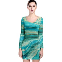 Mint,gold,marble,nature,stone,pattern,modern,chic,elegant,beautiful,trendy Long Sleeve Bodycon Dress