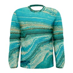 Mint,gold,marble,nature,stone,pattern,modern,chic,elegant,beautiful,trendy Men s Long Sleeve Tee