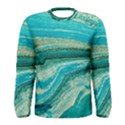 Mint,gold,marble,nature,stone,pattern,modern,chic,elegant,beautiful,trendy Men s Long Sleeve Tee View1