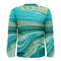 Mint,gold,marble,nature,stone,pattern,modern,chic,elegant,beautiful,trendy Men s Long Sleeve Tee View2