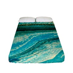 Mint,gold,marble,nature,stone,pattern,modern,chic,elegant,beautiful,trendy Fitted Sheet (Full/ Double Size)