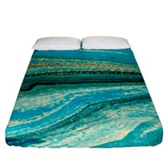 Mint,gold,marble,nature,stone,pattern,modern,chic,elegant,beautiful,trendy Fitted Sheet (King Size)