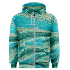 Mint,gold,marble,nature,stone,pattern,modern,chic,elegant,beautiful,trendy Men s Zipper Hoodie