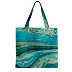 Mint,gold,marble,nature,stone,pattern,modern,chic,elegant,beautiful,trendy Zipper Grocery Tote Bag