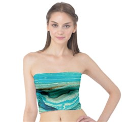 Mint,gold,marble,nature,stone,pattern,modern,chic,elegant,beautiful,trendy Tube Top