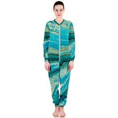Mint,gold,marble,nature,stone,pattern,modern,chic,elegant,beautiful,trendy OnePiece Jumpsuit (Ladies)