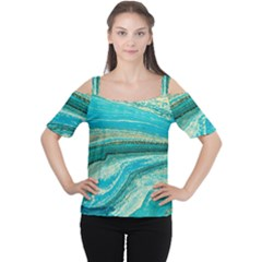 Mint,gold,marble,nature,stone,pattern,modern,chic,elegant,beautiful,trendy Cutout Shoulder Tee