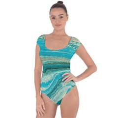 Mint,gold,marble,nature,stone,pattern,modern,chic,elegant,beautiful,trendy Short Sleeve Leotard