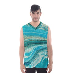 Mint,gold,marble,nature,stone,pattern,modern,chic,elegant,beautiful,trendy Men s Basketball Tank Top