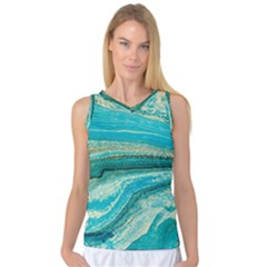 Mint,gold,marble,nature,stone,pattern,modern,chic,elegant,beautiful,trendy Women s Basketball Tank Top