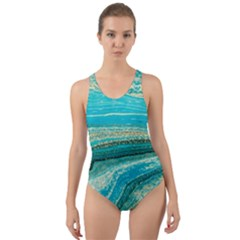 Mint,gold,marble,nature,stone,pattern,modern,chic,elegant,beautiful,trendy Cut-Out Back One Piece Swimsuit