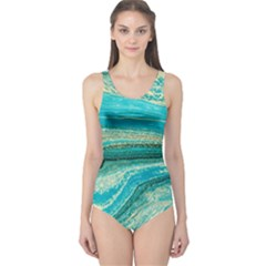 Mint,gold,marble,nature,stone,pattern,modern,chic,elegant,beautiful,trendy One Piece Swimsuit