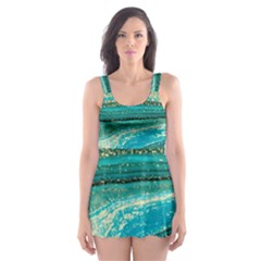 Mint,gold,marble,nature,stone,pattern,modern,chic,elegant,beautiful,trendy Skater Dress Swimsuit