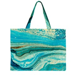 Mint,gold,marble,nature,stone,pattern,modern,chic,elegant,beautiful,trendy Zipper Large Tote Bag