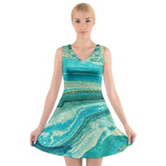 Mint,gold,marble,nature,stone,pattern,modern,chic,elegant,beautiful,trendy V Neck Sleeveless Skater Dress