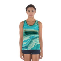 Mint,gold,marble,nature,stone,pattern,modern,chic,elegant,beautiful,trendy Sport Tank Top