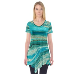 Mint,gold,marble,nature,stone,pattern,modern,chic,elegant,beautiful,trendy Short Sleeve Tunic