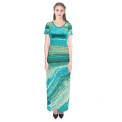 Mint,gold,marble,nature,stone,pattern,modern,chic,elegant,beautiful,trendy Short Sleeve Maxi Dress