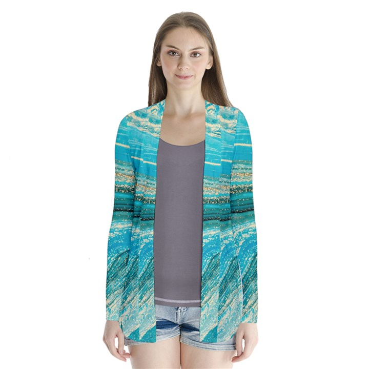 Mint,gold,marble,nature,stone,pattern,modern,chic,elegant,beautiful,trendy Drape Collar Cardigan