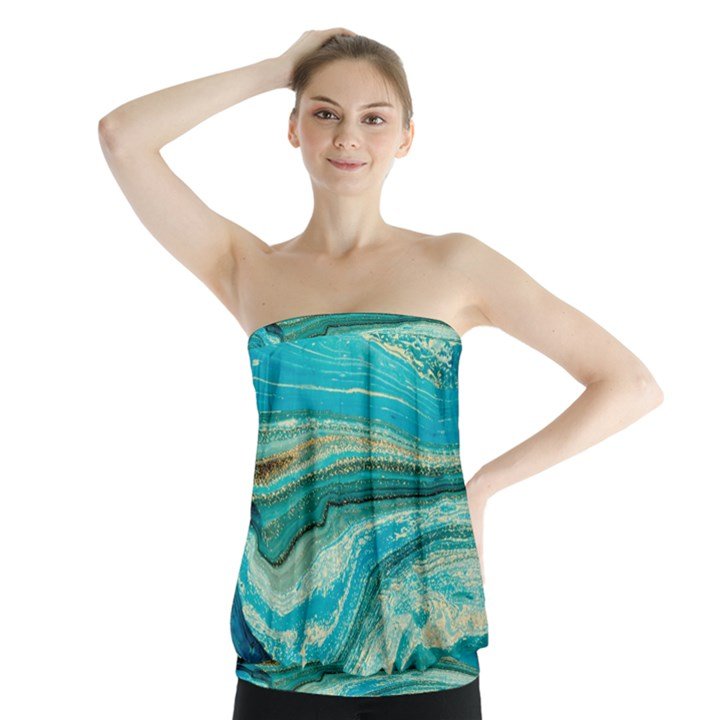 Mint,gold,marble,nature,stone,pattern,modern,chic,elegant,beautiful,trendy Strapless Top