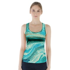 Mint,gold,marble,nature,stone,pattern,modern,chic,elegant,beautiful,trendy Racer Back Sports Top
