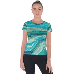 Mint,gold,marble,nature,stone,pattern,modern,chic,elegant,beautiful,trendy Short Sleeve Sports Top