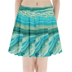 Mint,gold,marble,nature,stone,pattern,modern,chic,elegant,beautiful,trendy Pleated Mini Skirt