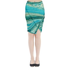 Mint,gold,marble,nature,stone,pattern,modern,chic,elegant,beautiful,trendy Midi Wrap Pencil Skirt