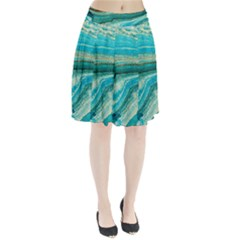 Mint,gold,marble,nature,stone,pattern,modern,chic,elegant,beautiful,trendy Pleated Skirt