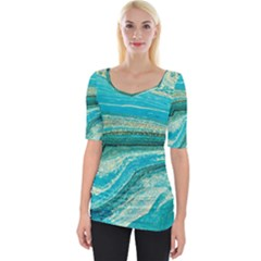 Mint,gold,marble,nature,stone,pattern,modern,chic,elegant,beautiful,trendy Wide Neckline Tee