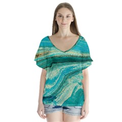 Mint,gold,marble,nature,stone,pattern,modern,chic,elegant,beautiful,trendy V-Neck Flutter Sleeve Top