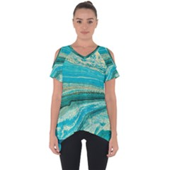 Mint,gold,marble,nature,stone,pattern,modern,chic,elegant,beautiful,trendy Cut Out Side Drop Tee