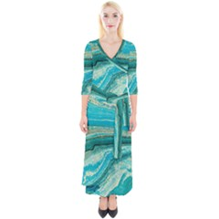 Mint,gold,marble,nature,stone,pattern,modern,chic,elegant,beautiful,trendy Quarter Sleeve Wrap Maxi Dress