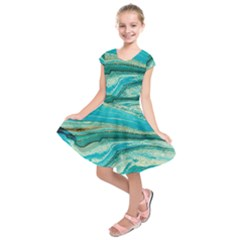 Mint,gold,marble,nature,stone,pattern,modern,chic,elegant,beautiful,trendy Kids  Short Sleeve Dress
