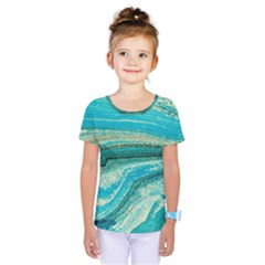 Mint,gold,marble,nature,stone,pattern,modern,chic,elegant,beautiful,trendy Kids  One Piece Tee