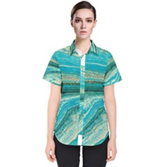 Mint,gold,marble,nature,stone,pattern,modern,chic,elegant,beautiful,trendy Women s Short Sleeve Shirt