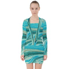 Mint,gold,marble,nature,stone,pattern,modern,chic,elegant,beautiful,trendy V-neck Bodycon Long Sleeve Dress