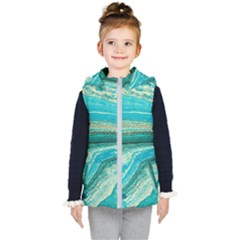 Mint,gold,marble,nature,stone,pattern,modern,chic,elegant,beautiful,trendy Kid s Puffer Vest