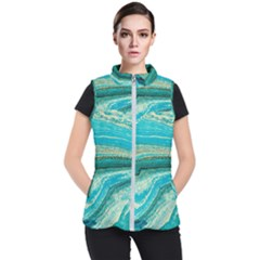 Mint,gold,marble,nature,stone,pattern,modern,chic,elegant,beautiful,trendy Women s Puffer Vest