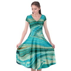 Mint,gold,marble,nature,stone,pattern,modern,chic,elegant,beautiful,trendy Cap Sleeve Wrap Front Dress
