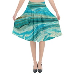 Mint,gold,marble,nature,stone,pattern,modern,chic,elegant,beautiful,trendy Flared Midi Skirt