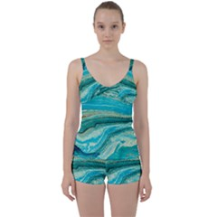 Mint,gold,marble,nature,stone,pattern,modern,chic,elegant,beautiful,trendy Tie Front Two Piece Tankini