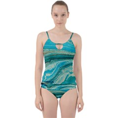 Mint,gold,marble,nature,stone,pattern,modern,chic,elegant,beautiful,trendy Cut Out Top Tankini Set